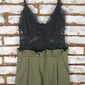 Fashion Nova ROMPER JUMPSUIT Khaki Green Black Top